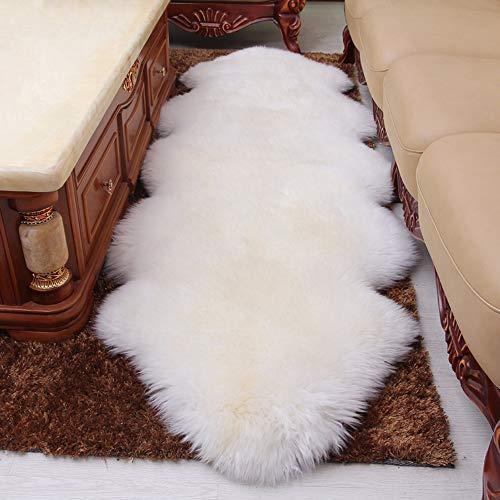 Verziert Faux Pelz (Rmckj Australien Premium Qualität Schaffell Sofa Sessel Abdeckung Sitzpolster Super Pelz Teppiche Zottelig Wolle Ultimativ Weich Gemütlich Hautfreundlich,White-70x220cm(28x87inch))