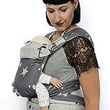SCHMUSEWOLKE Mei Tai Babytrage Neugeborene und Kleinkinder Mirastar Blue BIO-Baumwolle Babysize 0-24 Monate 3-16 kg Bauch-und Rückentrage