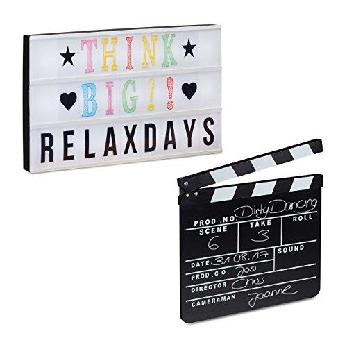 2 tlg. Film-Set, Light Box groß, Filmklappe Holz, Message Board LED, Regieklappe schwarz, Lichtbox mit USB-Anschluss