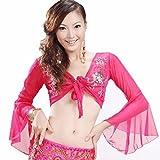 Best Dance Damen Bauchtanz handgefertigt Tribal Stickerei Elastic veiling Top, Pink