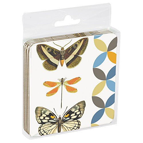 Tree-Free Greetings EC96791 Eco Coaster Set in Acrylic Box, 3.5 x 0.1 x 3.5, Butterfly and Dragonfly -