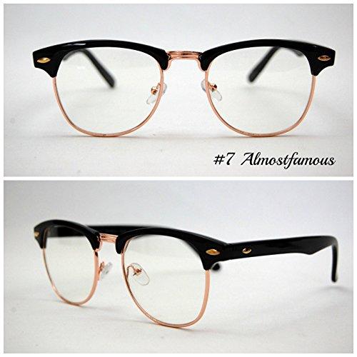 Pretty Smart Glasses Schwarz Clubmaster klare Gläser Classic Retro 1980's Vintage Schwarz/Schildpatt Gold Rand Clubmaster Sonnenbrille