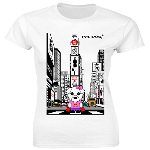 Mi Dog Womens, in New York Times Square Fitted T Shirt, White