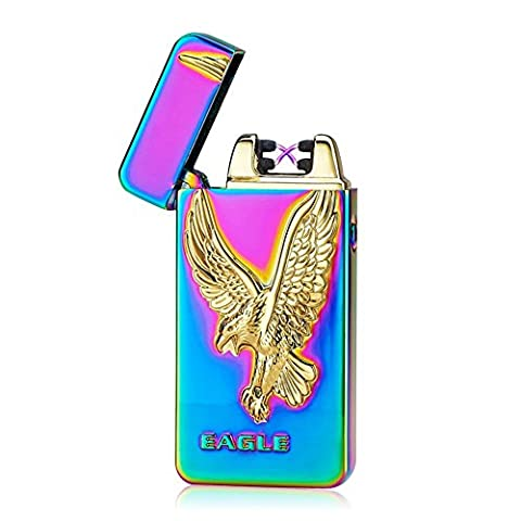 Windproof Lighter, SHUNING USB Rechargeable Double Electronic Arc Cigarette Lighter USB Lighter Windproof Flameless Eagle Pattern Arc Lighter (Rainbow Eagle)