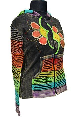 Remiendo de las mujeres Stonewash chaqueta / sudadera con capucha - ropa alternativa (L / XL)