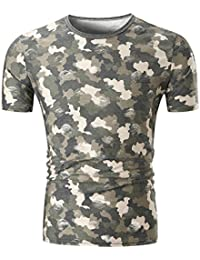 Mens T Shirts,Mens Shirts Short Sleeve,Mens Shirts,Mens Tops,Mens Shirts Casual,Mens Tops Summer,Men Shirt New Look,Moonuy Men Camouflage Print O Neck Handsome Pullover Blouse