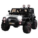 UEnjoy SUV Kinderauto Fahrt auf Autos 12V Kinder Elektroautos mit Fernbedienung 4 Geschwindigkeiten Scheinwerfer Modell HP-002,Schwarz