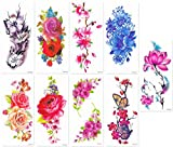 DaLin Sexy Temporary Tattoos Women 9 Sheets Rose, Peony, Butterflly, Louts, Cherry Blossoms