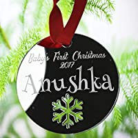 Personalised Christmas Tree Decoration - Xmas Bauble Engraved Gift Bauble for Baby's First Christmas 2018