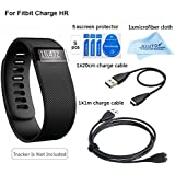 NIUTOP 1pcs Charger and 5pcs Screen Protector for Fitbit Charge HR-A Must Have Accessory Pack