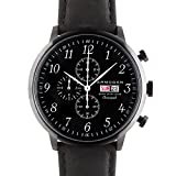 Armogan Spirit of St Louis Midnight Black - Montre Chronographe Homme Bracelet en Cuir Noir