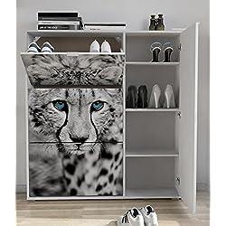 Armario zapatero de 4 puertas 120x129cm, con serigrafia Cheetah