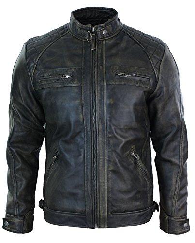Veste Biker Homme Cuir véritable Souple Vieilli Fermeture éclair Noir Marron Vintage rétro