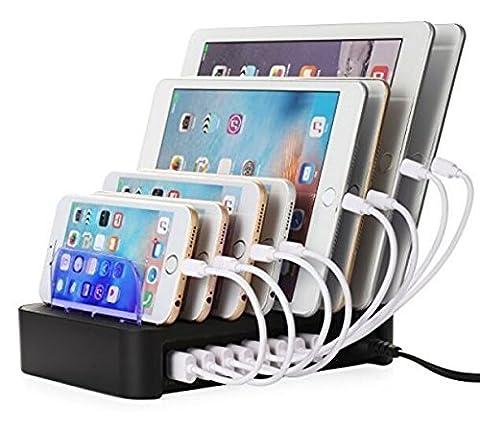 NexGadget Station de Charge, Chargeur Détachable Universel Multi-Port USB [8 ports USB Charging Dock] Chargeur de Bureau et Organisateur des Câbles Applicable pour le Plus Part des Appareils USB