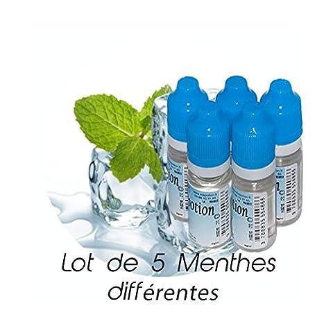 MA POTION - Lot de 5 E-Liquide MENTHE différentes saveurs, Eliquide Français Ma Potion, recharge cigarette électronique. Sans nicotine ni ta