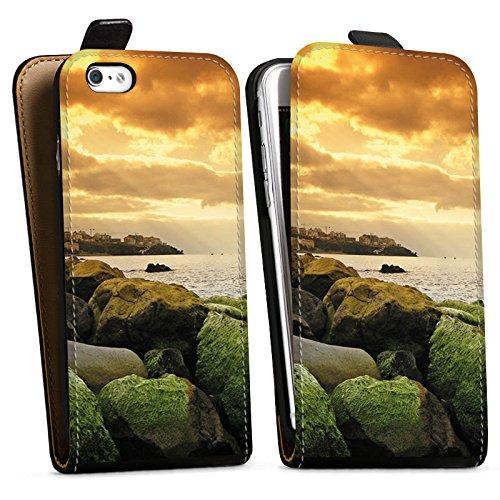 Apple iPhone X Silikon Hülle Case Schutzhülle Küste Landschaft Fels Downflip Tasche schwarz