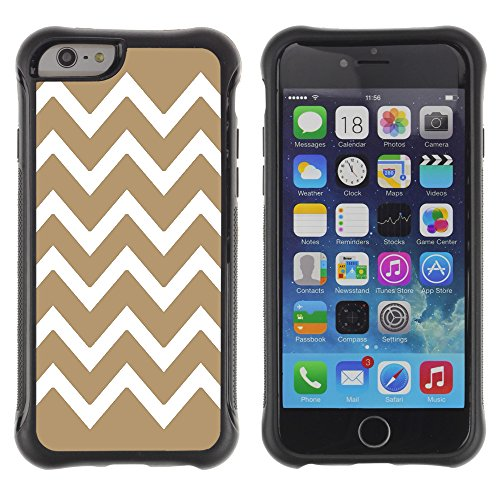 Graphic4You Chevron Muster Shockproof Anti-Rutsch Weichen Hülle Case Tasche Schutzhülle für Apple iPhone 6 Plus / 6S Plus (Rosa) Beige