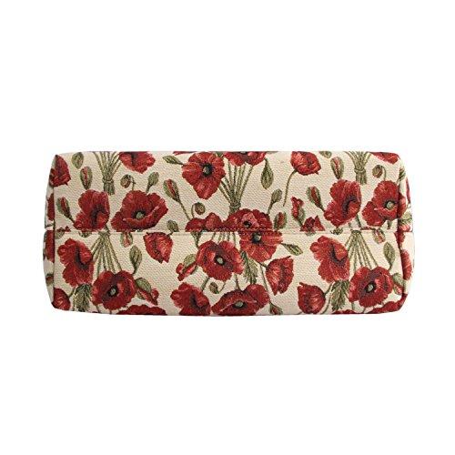 Borsa tote per Università donna di Signare a spalla in tessuto stile arazzo Papavero