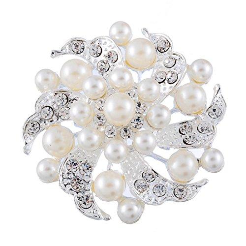 Souarts Broche Epingle à Nourrice Mariage Fleurs Perles Artificielles Strass 1PC