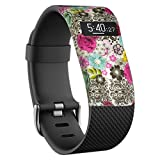 YINUO Ersatzband Armband Zubehör Band Cover Fälle Für Fitbit Charge / Fitbit HR Charge Smart Watch Case Cover Gemusterte Stoßstange-Abdeckung (Weiß+Farbig Blumen)