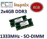 FCM / HYNIX (Mihatsch & Diewald) 8GB Dual Channel Kit 2 x 4 GB 204 pin DDR3-1333 (1333Mhz, PC3-10600, CL9) - für Apple MacBook Pro 8,1 8,2 8,3 + iMac 11,2 11,3 12,1 12,2 + mac mini 5,1 5,2 5,3 und alle aktuellen Core i3/i5/i7 Notebooks