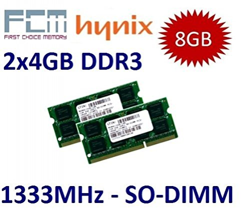Cl9 Dual Channel (FCM / HYNIX (Mihatsch & Diewald) 8GB Dual Channel Kit 2 x 4 GB 204 pin DDR3-1333 (1333Mhz, PC3-10600, CL9) - für Apple MacBook Pro 8,1 8,2 8,3 + iMac 11,2 11,3 12,1 12,2 + mac mini 5,1 5,2 5,3 und alle aktuellen Core i3/i5/i7 Notebooks)