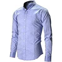 FLATSEVEN Camicia Uomo Slim Fit Casual Oxford