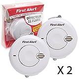 2 x First Alert - Rauchmelder Alarm,batterienbetrieben,Übungs & Pause Knopf (Französische Version)