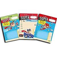 Invitaciones de superhéroe – paquete de 30 invitaciones de superhéroe variadas para cumpleaños de niños