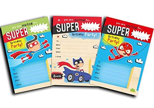 Invitaciones de superhéroe – paquete de 30 invitaciones de superhéroe ...