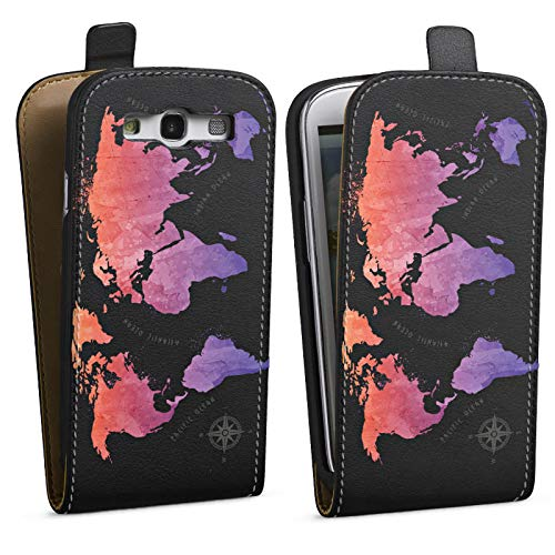 DeinDesign Tasche kompatibel mit Samsung Galaxy S3 Flip Case Hülle Weltkarte ohne Hintergrund Worldmap Karte -