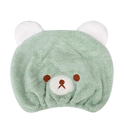 Gorro de baño Niñas toalla de baño secador turbante de microfibra, diseño de oso Mignon sombrero...