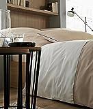 Rose Village  Luxus Bettwäsche-Set, Design Biarritz, Edelperkal 80 Fd./cm² (200 TC/in²), Zweifarbig: weiß/beige (Bettwäsche-Set 220x240+2X(80x80))