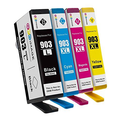Kompatibel Cyan-box (GPC Image Remanufactured Tintenpatrone für HP 903XL 903XL (1 Schwarz, 1 Cyan, 1 Magenta, 1 Gelb) Kompatibel mit HP Officejet Pro 6950 6960 6970 All-in-One Drucker)
