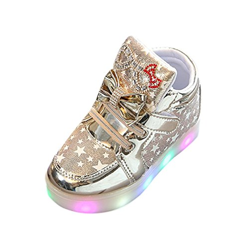 Kleinkind Baby Art und Weisesnowers Stern leuchtendes Kind zufällige bunte helle Schuhe Kinder Schuhe mit Licht Led Leuchtende Blinkende Turnschuhe für Kinder (23, Gold) (Kinder Gold Schuhe)