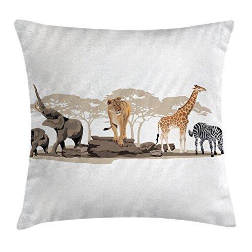 Ambesonne Wild Safari Überwurf Kissen, Kissenhülle, Savannen Afrikanische Tiere Exotic Giraffe Löwe Elefant Zebra, Deko, Quadratisch, Kissenbezug, Multicolor, Textil, Multi 1, 18