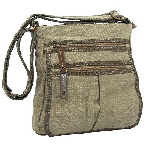 Man Bags for Men Flight Shoulder Cross Body Satchels Small Fashion Day Bag in Canvas (Beige)