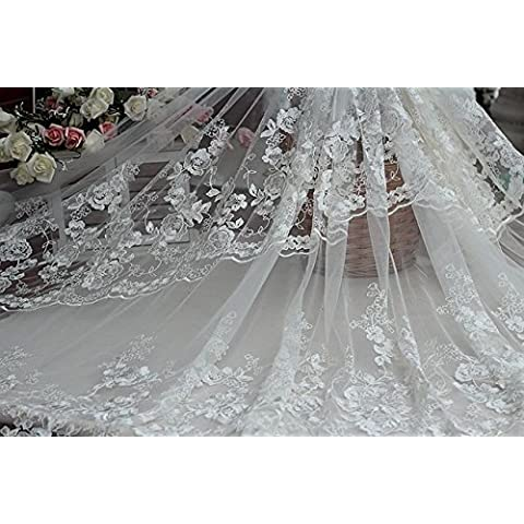 Tessuto nuovo libero shipping140Width avorio Vintage pizzo ricamato con motivi floreali, Wedding Gown tessuto del (Dobby Pizzo)