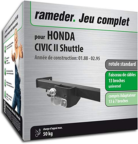 Rameder Pack attelage rotule Standard 2 Trous pour Honda Civic II Shuttle + Faisceau électrique 13 Broches (160672-01278-1-FR)