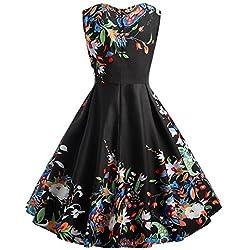 KaloryWee Dresses Women Retro Vintage 1950s Style Sleeveless Swing Party Dress