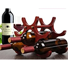 Winracer 6 Bottiglie Rosso legno Wine Rack Decorazione per camera Living Home Furnishings esposizione del vino Bottle Holder 26 * 16,5 * 21,5 centimetri