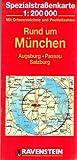 Rund um München: Augsburg, Passau, Salzburg. Spezialstrassenkarte mit Ortsverzeichnis. 1:200000