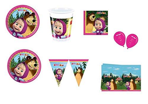 CDC - Kit n° 26 para fiesta de cumpleaños con personajes de Masha y el Oso. Incluye 40 platos, 40 vasos, 40 servilletas, 1 mantel, 1 guirnalda y 8 globos de Masha