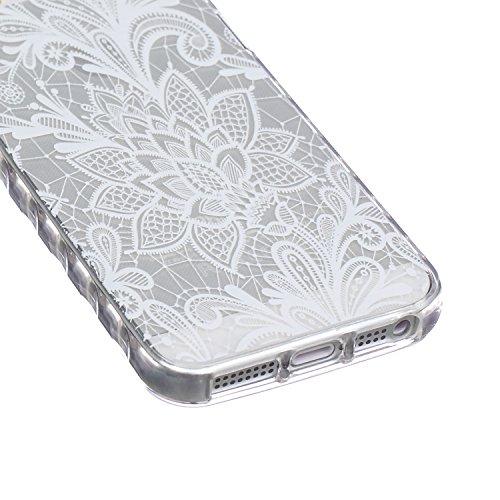 Voguecase® Per Apple iPhone 5 5G 5S, Custodia fit ultra sottile Silicone Morbido Flessibile TPU Custodia Case Cover Protettivo Skin Caso (Fiore pizzo) Con Stilo Penna Fiore pizzo