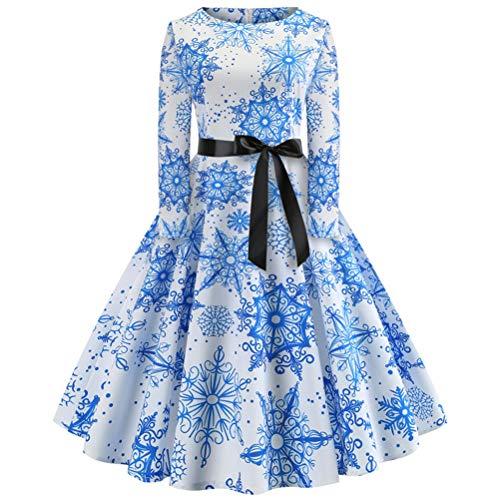 SJD Frauen Mädchen Weihnachten O Hals Langarm Kleid Vintage Blumenmuster Daily Festival Party Dress - Vintage Juwel Hals
