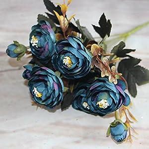Ramo de flores artificial alegre con 6ramas de flor de peonía para hogar, habitación, decoración de novia. Flores de tacto real