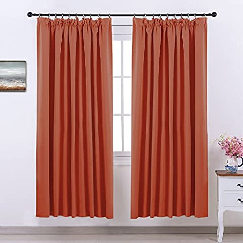 Pencil Pleat Blackout Curtains Panels - PONY DANCE Thermal Curtains
