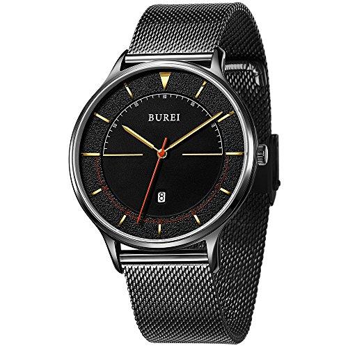 BUREI Unisex dünnes minimalistische Armband-Uhr mit großem Zifferblatt Kalender Mineralglas anthrazitfarbenes Webe-Armband Damen-boyfriend-uhr-gold