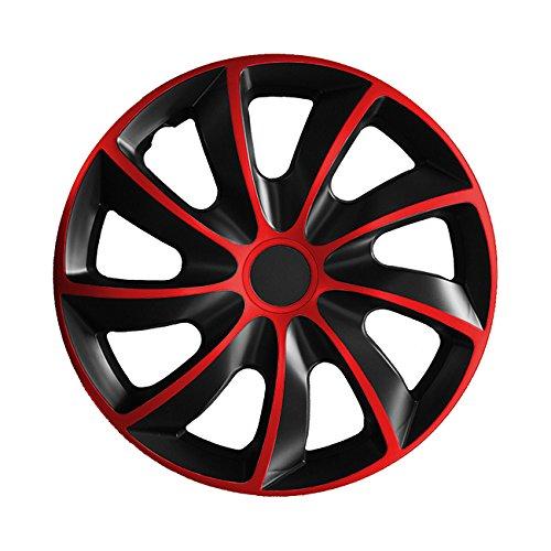 (Farbe & Größe wählbar) 15 Zoll Radkappen, Radzierblenden Quad Bicolor (Schwarz/Rot) passend für fast alle Fahrzeugtypen (universal)