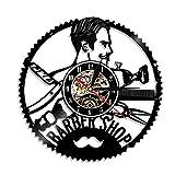 Barber Shop horloge murale vinyle design barbe moustache salon de coiffure art décorer cadeau idée unique pour lui son,Black,12inches